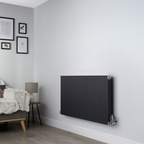 Motif Anthracite Horizontal Designer Radiator - 600mm high x 1100mm wide