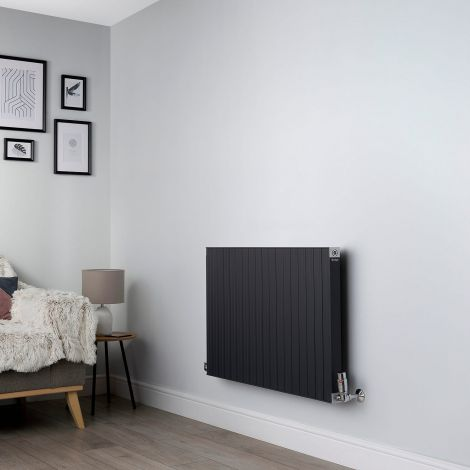 Motif Anthracite Horizontal Designer Radiator - 600mm high x 900mm wide