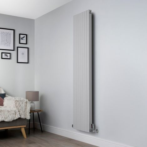Motif Light Grey Vertical Tall Slim Designer Radiator - 1750mm high x 400mm wide