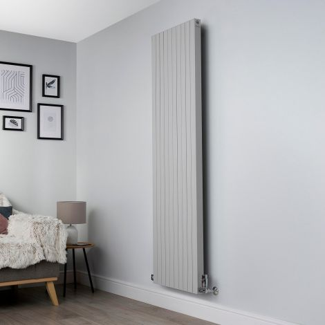 Motif Light Grey Vertical Designer Radiator - 1750mm high x 500mm wide,Motif Light Grey Designer Radiator - Striations Close Up,Motif Light Grey Designer Radiator - Flow Valve Close Up,Motif Light Grey Designer Radiator - Return Valve Close Up