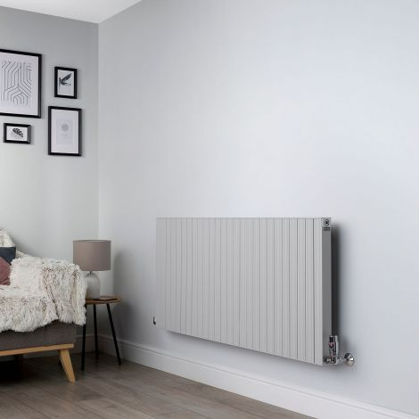 Motif Light Grey High Output Horizontal Designer Radiator - 600mm high x 1300mm wide