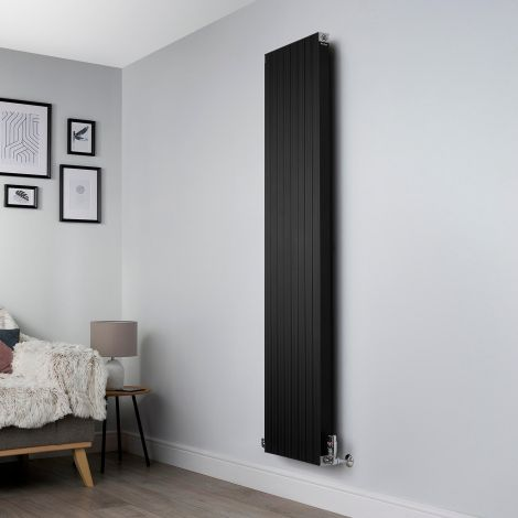 Motif Black Vertical Tall Slim Designer Radiator - 1750mm high x 400mm wide