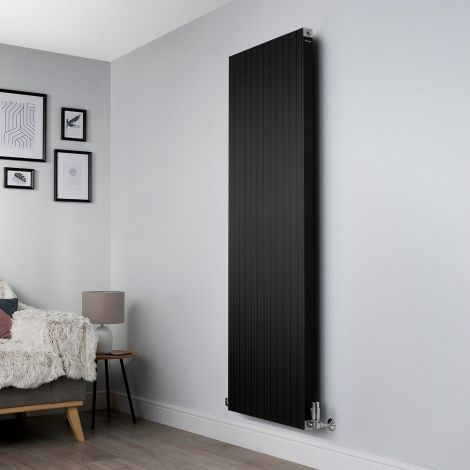 Motif Black Vertical Large High Output Designer Radiator - 1750mm high x 600mm wide
