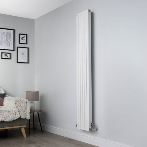 Motif White Vertical Designer Radiator - 1750mm high x 300mm wide,Motif White Designer Radiator - Striations Close Up,Motif White Designer Radiator - Flow Valve Close Up,Motif White Designer Radiator - Return Valve Close Up