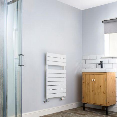 Lazzarini Palermo White Designer Heated Towel Rail -  820mm high x 500mm wide