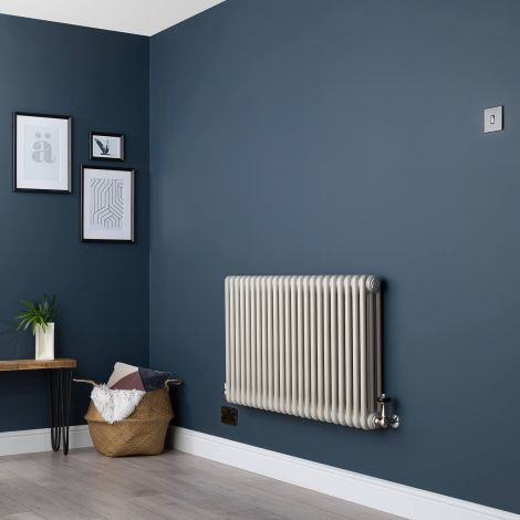 Old Style Horizontal Three Column White Hammered Gold Traditional Radiator - 600 x 1059mm