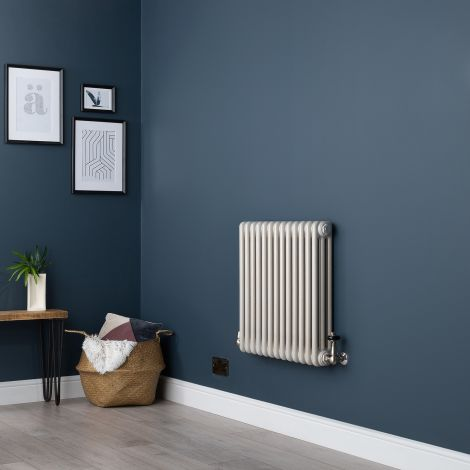 Old Style Horizontal Small Three Column White Hammered Gold Traditional Radiator - 600mm high x 609mm wide