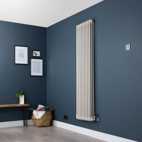 Old Style Vertical Three Column White Hammered Gold Traditional Radiator - 1800mm high x 474mm wide