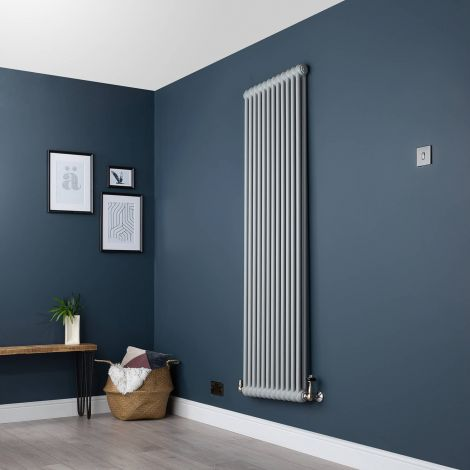 Old Style Vertical Two Column Light Grey Traditional Radiator - 1800mm high x 564mm wide