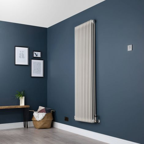 Old Style Vertical Three Column White Hammered Gold Traditional Radiator - 1800mm high x 564mm wide