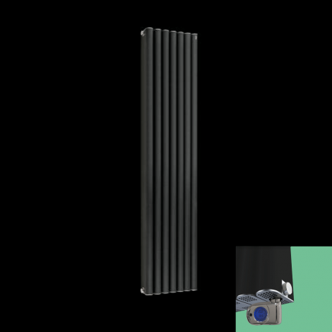 Torpedo Anthracite Thermostatic Electric Designer Radiator 1500mm x 345mm