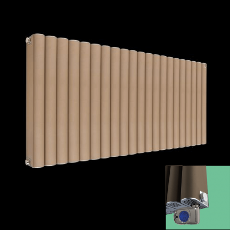 Torpedo Sand Brown Thermostatic Electric Radiator 600mm high x 1045mm wide