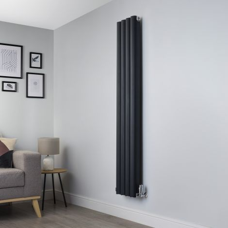 Venn Anthracite Vertical Designer Radiator - 1750mm high x 320mm wide