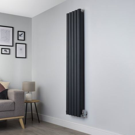 Venn Anthracite Vertical Tall Narrow Designer Radiator - 1750mm high x 400mm wide