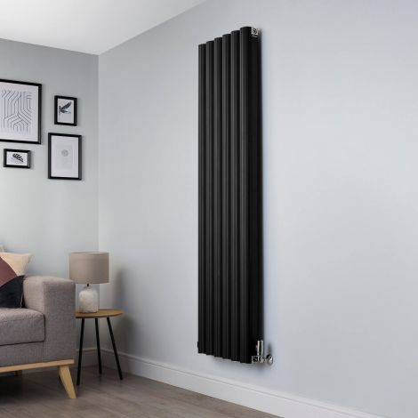 Venn Black Vertical Tall Narrow Designer Radiator - 1750mm high x 480mm wide