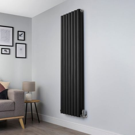 Venn Black Vertical Tall High Output Designer Radiator - 1750mm high x 560mm wide
