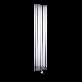 Flasteel Brushed Steel Tall Thin Ecodesign Electric Radiator 1800mm high x 390mm wide