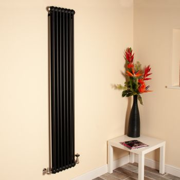 Old Style Tall Thin Matt Anthracite 2 Column Radiator 1800mm high x 339mm wide,Small Image,Thumbnail Image,Thumbnail Image,Small Image,Thumbnail Image,Small Image
