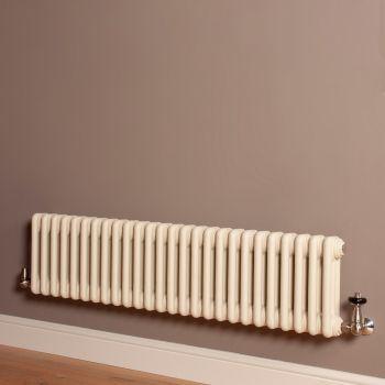 Old Style Low Level Matt Cream 3 Column Radiator 300mm high x 1194mm wide