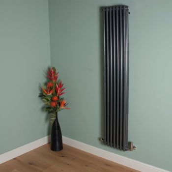 Old Style Tall Thin Gunmetal Grey 3 Column Radiator 1800mm high x 339mm wide