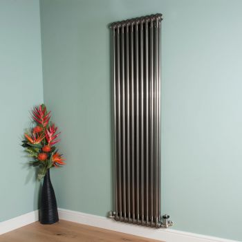 Old Style Tall Slim Raw Lacquered 2 Column Radiator 1800mm high x 474mm wide