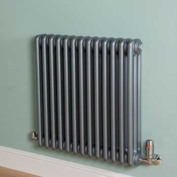 Old Style Mid Grey 3 Column Radiator 600mm high x 609mm wide