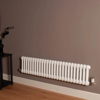Old Style Low Level Gloss White 2 Column Radiator 300mm high x 1194mm wide