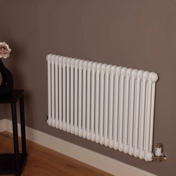 Old Style Gloss White 2 Column Radiator 600mm high x 1059mm wide