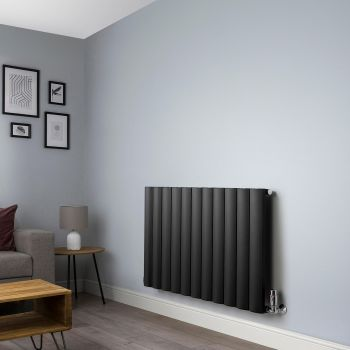Aero Anthracite Horizontal Designer Radiator - 600mm x 1040mm,Aero Anthracite Horizontal Designer Radiator - Shoulder Close Up,Aero Anthracite Horizontal Designer Radiator - Flow Valve Close Up,Aero Anthracite Horizontal Designer Radiator - Return Valve C