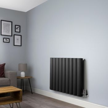 Aero Anthracite Horizontal Designer Radiator - 600mm x 850mm,Aero Anthracite Horizontal Designer Radiator - Shoulder Close Up,Aero Anthracite Horizontal Designer Radiator - Flow Valve Close Up,Aero Anthracite Horizontal Designer Radiator - Return Valve Cl