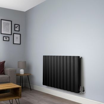Aero Black Horizontal Designer Radiator - 600mm x1040mm,Aero Black Horizontal Designer Radiator - Shoulder Close Up,Aero Black Horizontal Designer Radiator - Flow Valve Close Up,Aero Black Horizontal Designer Radiator - Return Valve Close Up