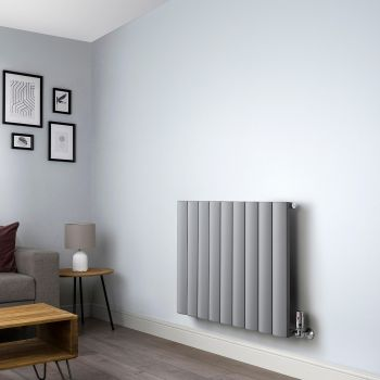 Aero Grey Horizontal Designer Radiator - 600mm x 850mm,Aero Grey Horizontal Designer Radiator - Shoulder Close Up,Aero Grey Horizontal Designer Radiator - Flow Valve Close Up,Aero Grey Horizontal Designer Radiator - Return Valve Close Up