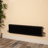 Old Style Low Level Matt Anthracite 3 Column Radiator 300mm high x 1194mm wide
