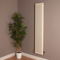 Old Style Tall Thin Matt Cream 3 Column Radiator 1800mm high x 339mm wide