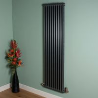 Old Style Tall Slim Gunmetal Grey 2 Column Radiator 1800mm high x 474mm wide