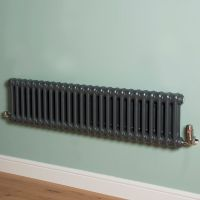 Old Style Low Level Gunmetal Grey 2 Column Radiator 300mm high x 1194mm wide