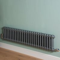 Old Style Low Level Mid Grey 2 Column Radiator 300mm high x 1194mm wide