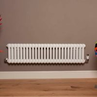 Old Style Low Level Gloss White 3 Column Radiator 300mm high x 1194mm wide