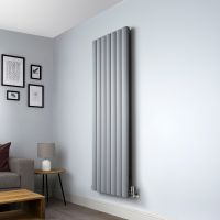Aero Grey Vertical Designer Radiator - 1800mm x 660mm,Aero Grey Vertical Designer Radiator - Shoulder Close Up,Aero Grey Vertical Designer Radiator - Flow Valve Close Up,Aero Grey Vertical Designer Radiator - Return Valve Close Up